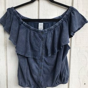 We The Free Blue Blouse Size Large